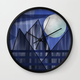 Moon Over The Mountains Wall Clock