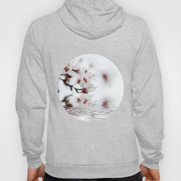 white cherry blossom and water reflection Hoody