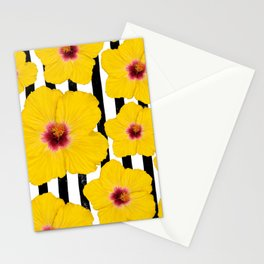 Summer Hibiscus Fun on Black & White Stripes Stationery Cards