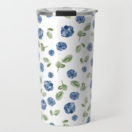 Blue Florals // Hand Painted Watercolors // Deep Blue and Leaf Green Travel Mug