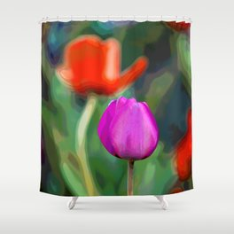 Colorful Tulip Abstract Shower Curtain
