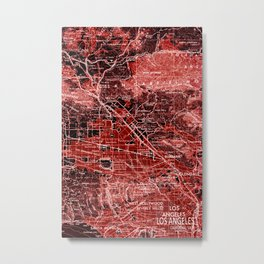 loa Angeles map, year 1966, red art Metal Print