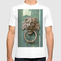 Lion heads of precious metal MEDIUM Mens Fitted Tee White