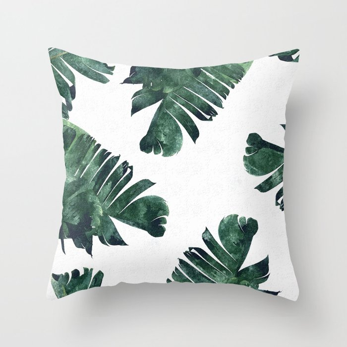 Banana Leaf Watercolor Society6 Buy Decor Throw Pillow