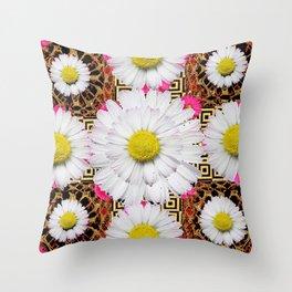 White Shasta Daisy Fuchsia  Pink Purple Patterns, Throw Pillow
