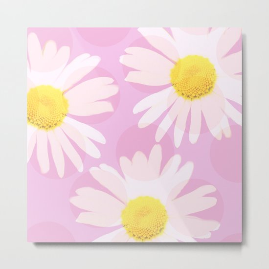 Flowers and dots on a pink background - lovely summery - #daisy #society6 #buyart Metal Print