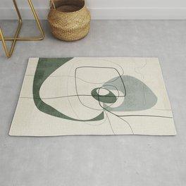 Minimalist Abstract Art Shapes - Scribbles Hunter Green 2 Rug