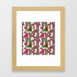 RED-YELLOW  ORIENTAL STYLE BUTTERFLIES & PINK ROSES GREY PATTERN DESIGN FROM SOCIETY6   BY SHARLESAR Framed Art Print