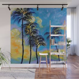 Moon over Palm Trees Wall Mural