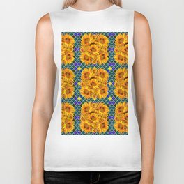 BLOCKS OF YELLOW SUNFLOWERS ON TEAL & PURPLE PATTERN Biker Tank