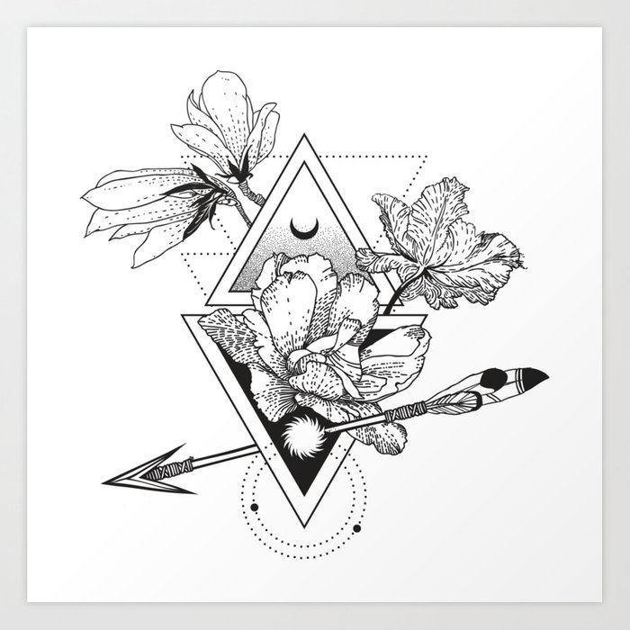 Alchemy Symbol With Moon And Flowers Art Print