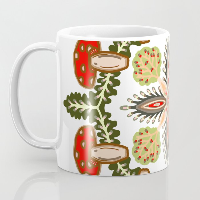 Fly Agaric Toadstool Forest Folkart, Red Fungi Mushroom Design with Trees Coffee Mug