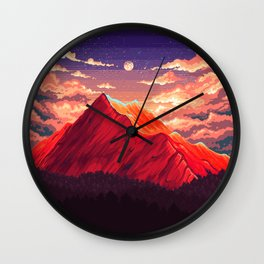 Pixel landscape Wall Clock