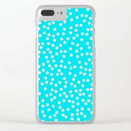 Turquoise and White Polka Dot Pattern Clear iPhone Case