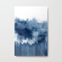 Blue watercolor brush strokes Metal Print