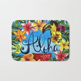 Aloha - Tropical Flower Food and Animal Summer Design on #Society6 Bath Mat