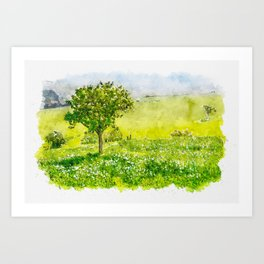 Aquarelle sketch art. Beautiful spring landscape with tree on foreground in Tuscany countryside, Italy Art Print