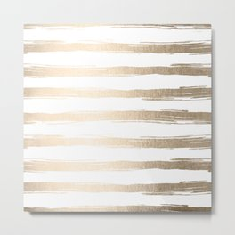 Simply Brushed Stripes White Gold Sands on White Metal Print