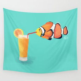 The Clown Fish Drinks Wall Tapestry