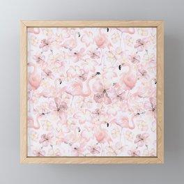 Flamingo and Tropical Flower Pattern Framed Mini Art Print