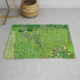 "Gustav Klimt ""Orchard With Roses"" Rug"