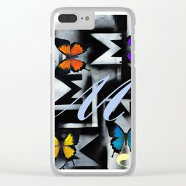 Monarch Butterfly Modern Abstract Painting Rainbow Art Clear iPhone Case
