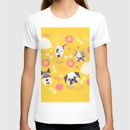 Cute dog illustration color card with cloud place for your text T-shirt