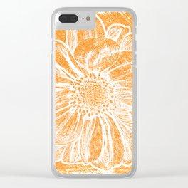 White Flower On Warm Orange Crayon Clear iPhone Case