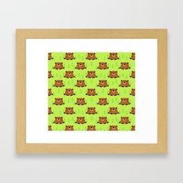 Adorable Groundhog Pattern Framed Art Print