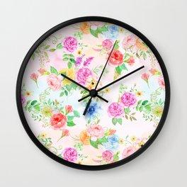 Watercolor Classic Rose Pattern Wall Clock