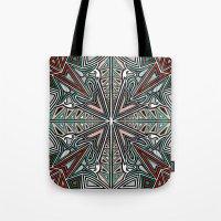 grafitti Tote Bags featuring Tribal Grafitti 4 Symmetrical design by Yezarck