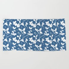 Drawings from Stonecrop Garden, Pattern in Blue & White Beach Towel