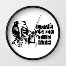 Love is in the air gas mask Wall Clock