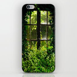 Green idyllic overgrown cottage garden window iPhone Skin