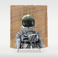 spaceman Shower Curtains featuring Cacti | Spaceman No:1 by FAMOUS WHEN DEAD