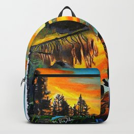 'Water Like Glass' Hand-Drawn Original Canoe Pastels Art - Backpack