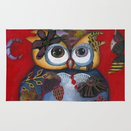 Bohemian Owl and Moon Painting by Kimberly Schulz Rug