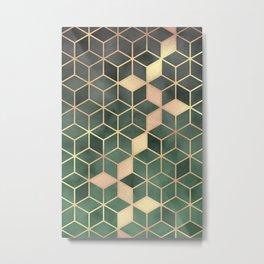 Gold Emerald green Gradient Cube Art print Metal Print