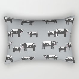 Cow farm minimal pattern animals nursery kids cattle design gifts grey Rectangular Pillow
