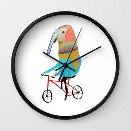 Elephant on bike. biking art, bike decor, bikes. Wall Clock