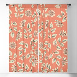 Coral Leaves & Flowers Blackout Curtain