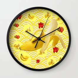 YELLOW BANANAS & STRAWBERRIES ABSTRACT PATTERN Wall Clock