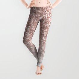Sparkle - Glittery Rose Gold Marble Leggings