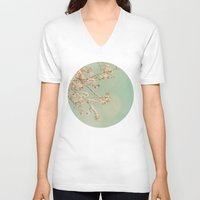 cherry blossoms V-neck T-shirts featuring Cherry Blossoms by happeemonkee