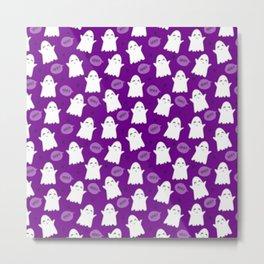 Halloween Pattern 3 Ghosts in purple night Metal Print
