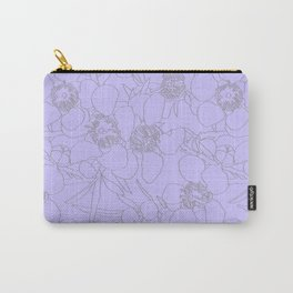 Australian Waxflower Line Floral in Lilac Carry-All Pouch