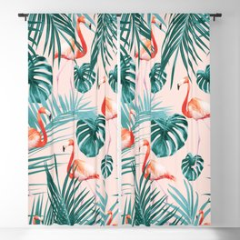 Tropical Flamingo Pattern #3 #tropical #decor #art #society6 Blackout Curtain