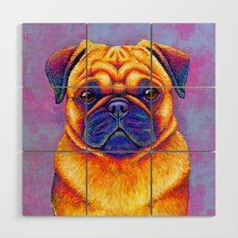 Colorful Rainbow Pug Portrait Wood Wall Art