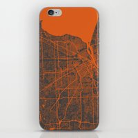 detroit iPhone & iPod Skins featuring Detroit map by Map Map Maps
