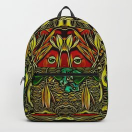 leather lady among spring flowers Backpack